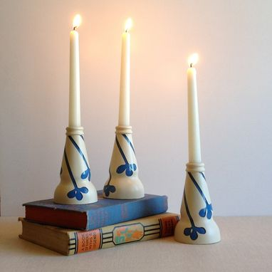 Custom Made Painted Glass Candle Holder, Blue And White, Modern Clovers