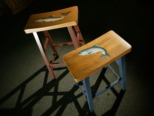 Custom Made Fly Fishing Themed Stools