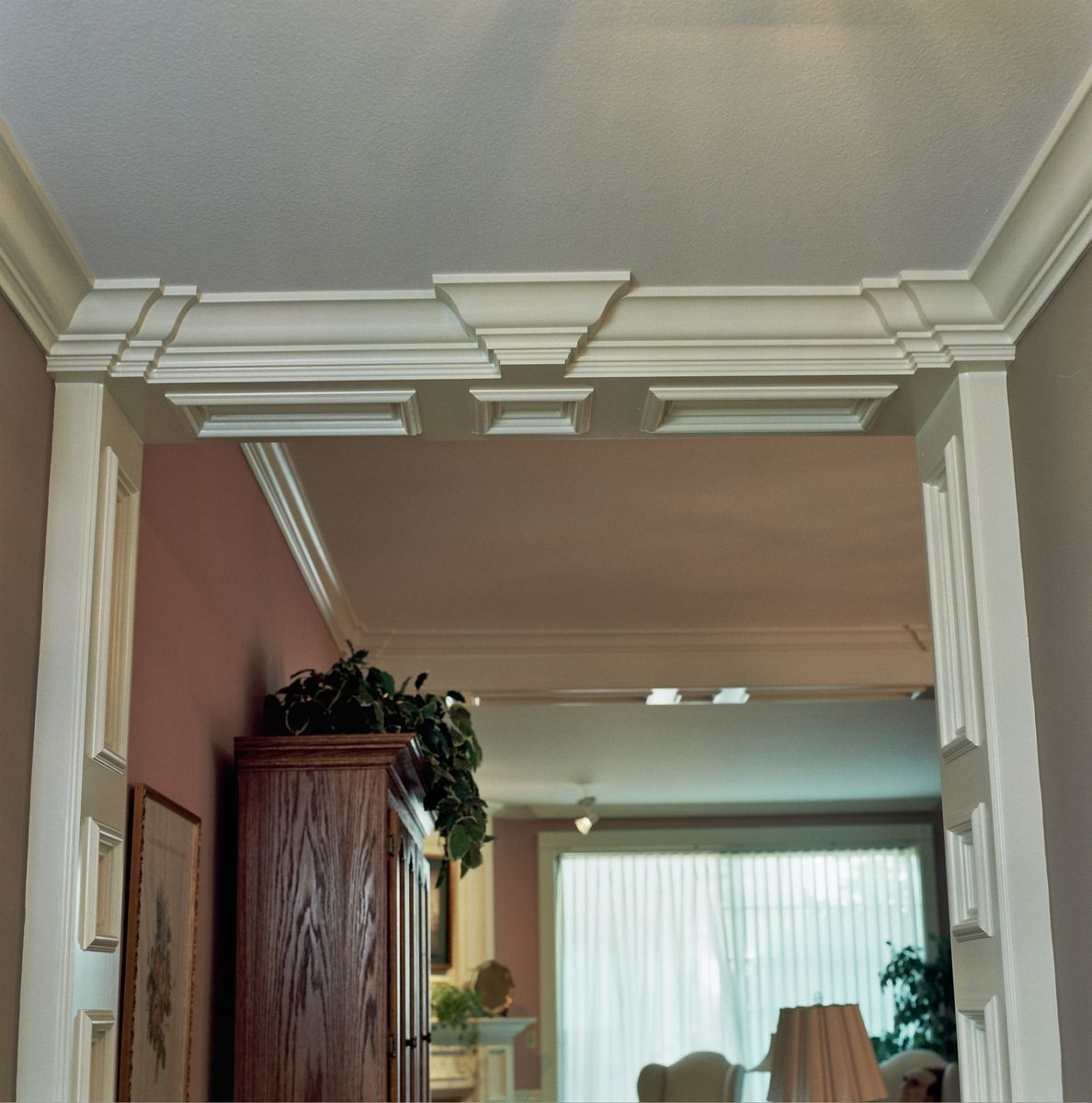 Handmade Foyer Recessed Panel Columns With Ogee Crown