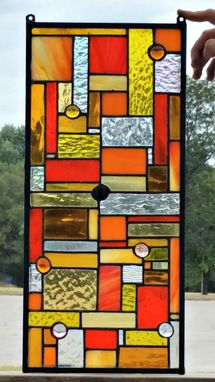 Custom Made Stained Glass Hanging Panel - Harvest Colors