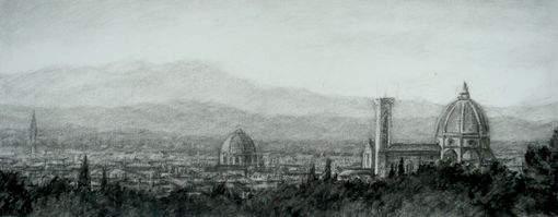 Custom Made Giclee Print Of Florence, Italy. Charcoal Drawing.