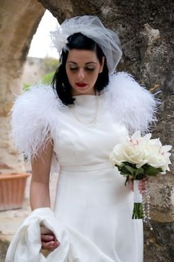 Custom Made Silk bridal gown with ostrich feathers