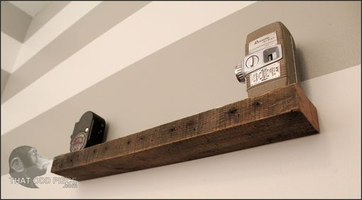 Custom Made Reclaimed Barn Wood Floating Shelf With Hidden Hangers