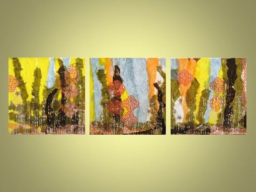 "Custom Made Abstract Collage Original-10""X10"" Yellow Orange Brown By Devikasart"