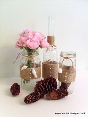Custom Made Jute-Wrapped Bottle Centerpiece In Set Of Three