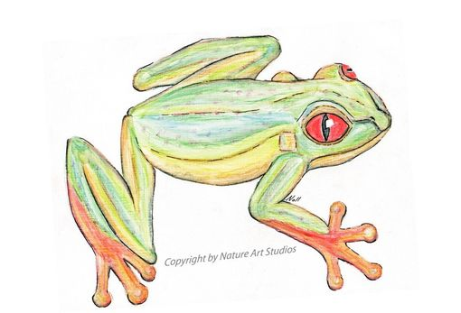 Custom Made Art Print With Original Tree Frog Watercolor Painting