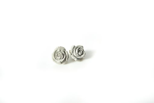Custom Made Large Concrete Rose Earrings