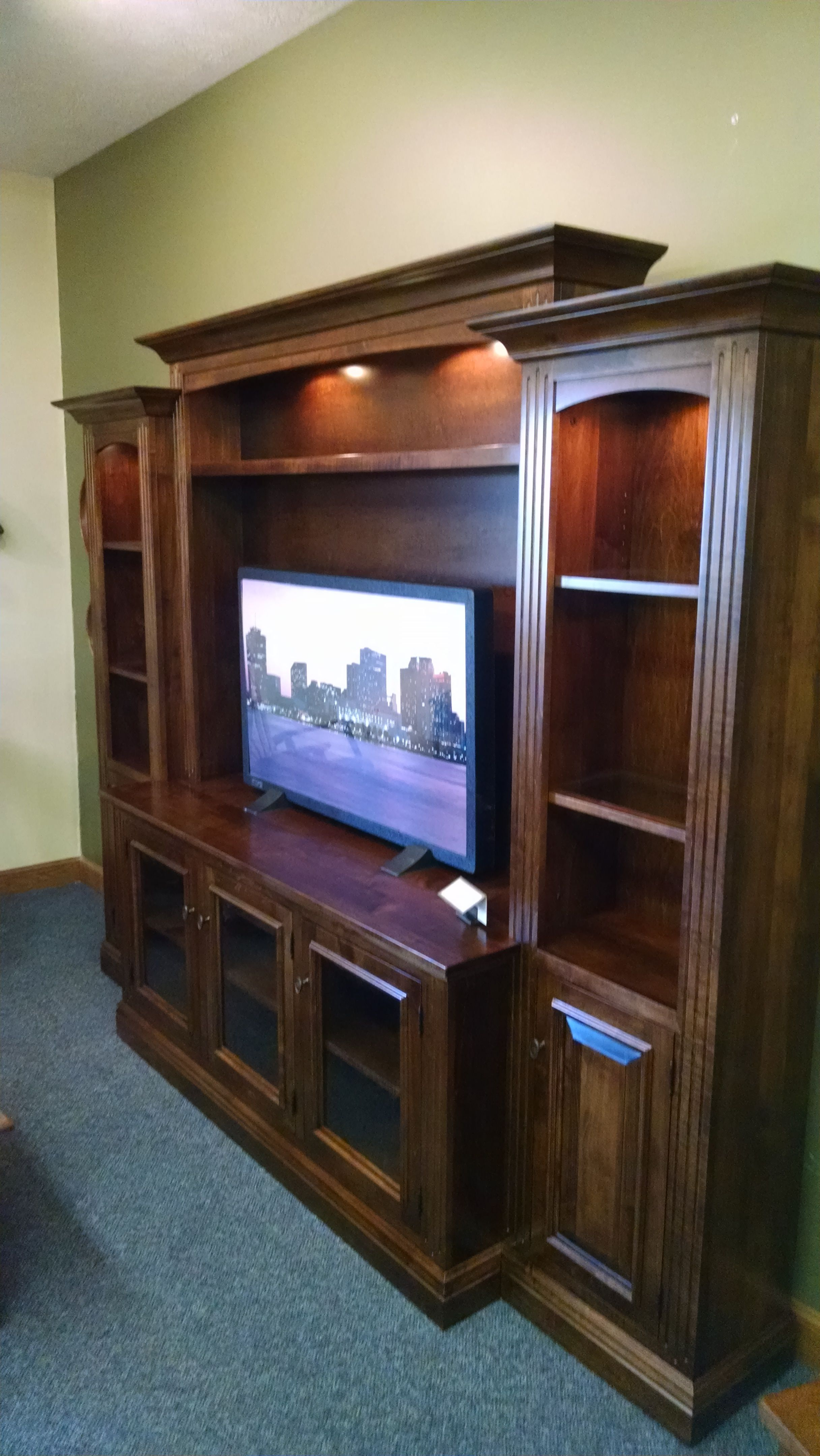 buy a hand made berlin entertainment center wall unit in brown maple made to order from walnut. Black Bedroom Furniture Sets. Home Design Ideas