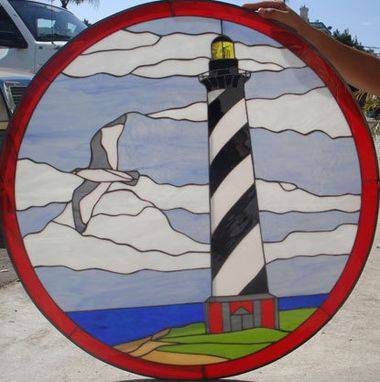 Custom Made East Coast Lighthouse & Ocean Stained Glass Window