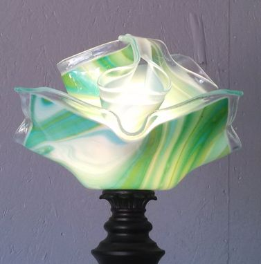 Custom Made Green Swirl Double Shade Floor Lamp