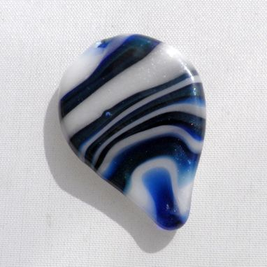 Custom Made Hand-Blown Glass Guitar Pick In Blue And White Swirls