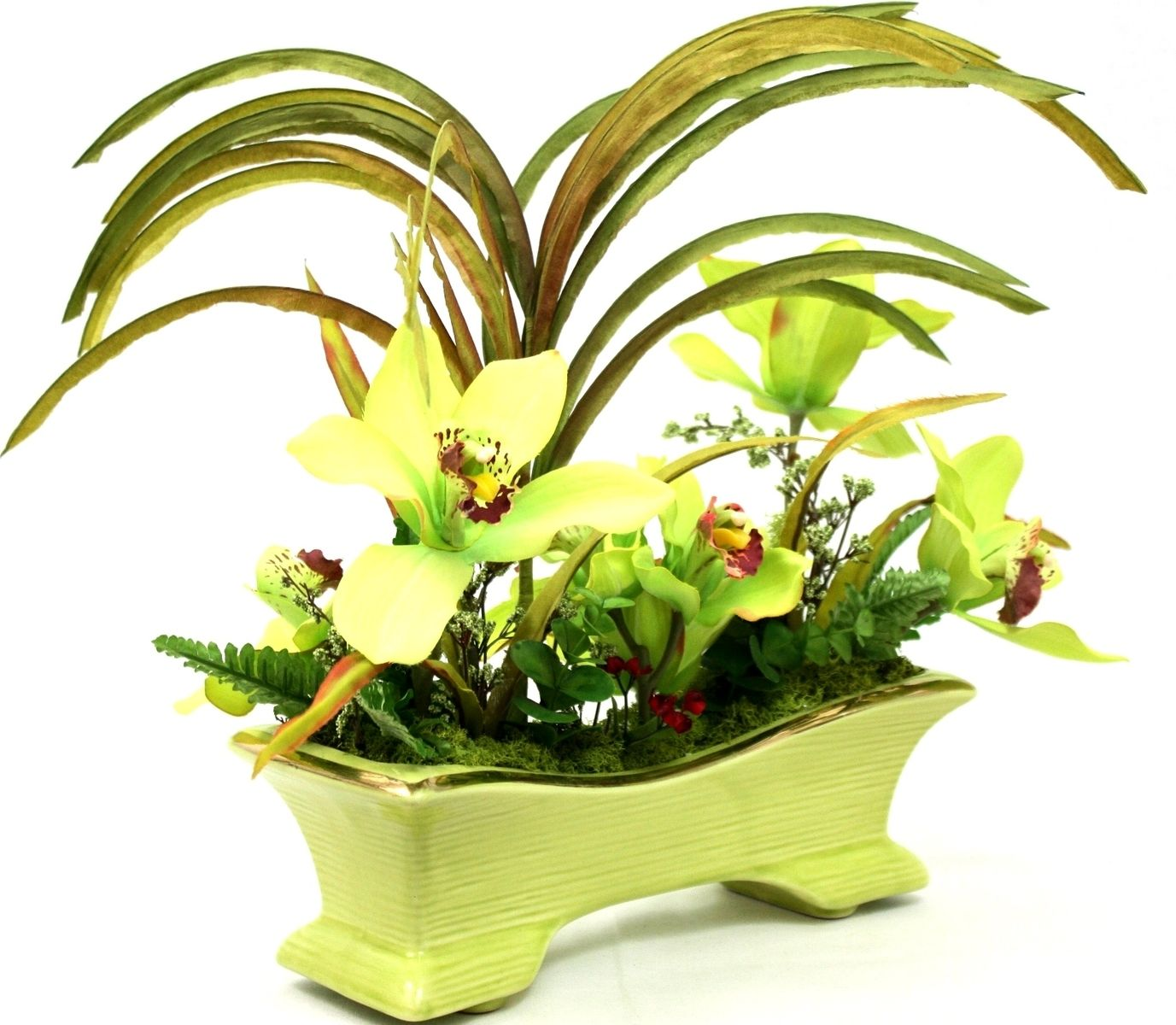 Custom Made Dining Table Centerpiece Silk Floral Arrangement Tropical Coffee Decor Island Tropics