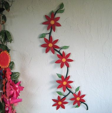 Hand Crafted Handmade Upcycled Metal Climbing Flower Vine