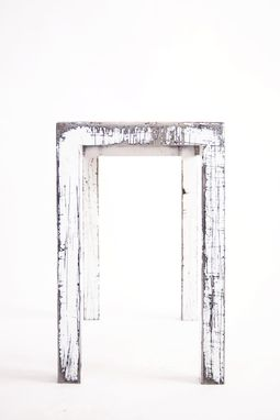 Custom Made Steel Arctic White Distressed End Table