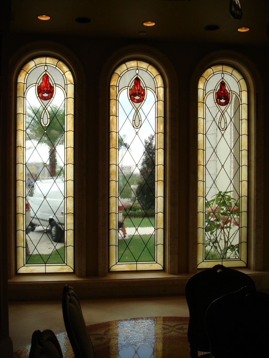 hand made stained glass window treatments to coordinate site specific architectural details. Black Bedroom Furniture Sets. Home Design Ideas