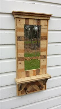 Custom Made Rustic Reclaimed Lath Hall Mirror With Barnwood Shelf
