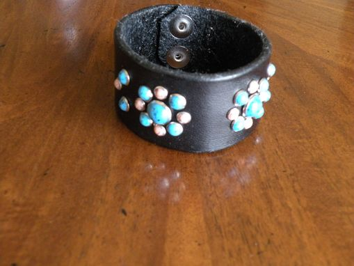 "Custom Made Turquoise And Coral ""Bling"" Wristband"