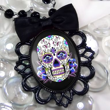 Custom Made Large Blue Dia De Los Muertos Black Bow Necklace 56-Jbbpn