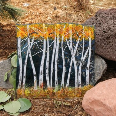 Custom Made Aspen Fused Glass Panel