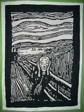 Custom Made The Scream In Monochrome Chenille Wall Hanging