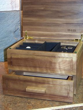 Custom Made Natural Wood Watch/Jewelry Box -- Wedding Gift For The Groom
