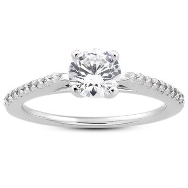 Custom Made Ladies 14kt White Gold Diamond Engagement Ring