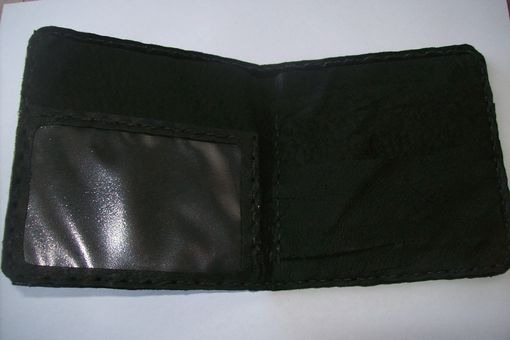 Custom Made Bi-Fold Leather Black Wallet