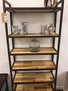 Custom Made Rustic Industrial Bookcase