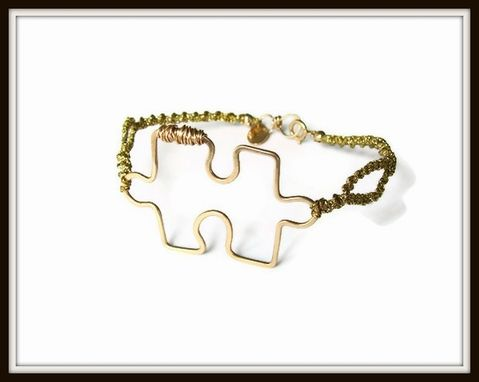 Custom Made As Gifted To Jenny Mccarthy Gold Puzzle Piece Bracelet