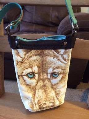 Custom Made Leather Cell Phone Purse With Wolf Branding