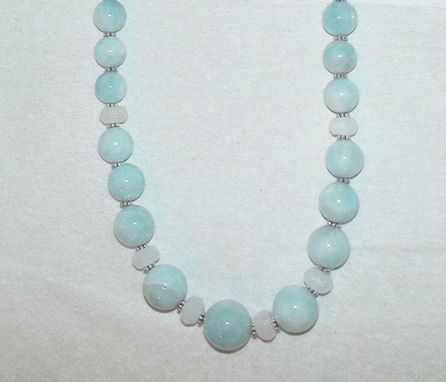 Custom Made Graduated Green Aquamarine And Faceted Snow Quartz Necklace In Sterling Silver