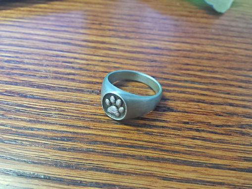 Custom Made Stainless Steel Satin Finish Panther Paw Signet Ring