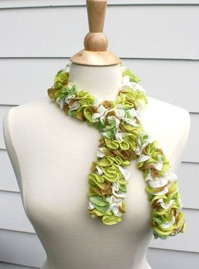 Custom Made Knit Ruffle Scarf - Scarflette Cowl Lime Green Tender Shoots Tan White Ruffle