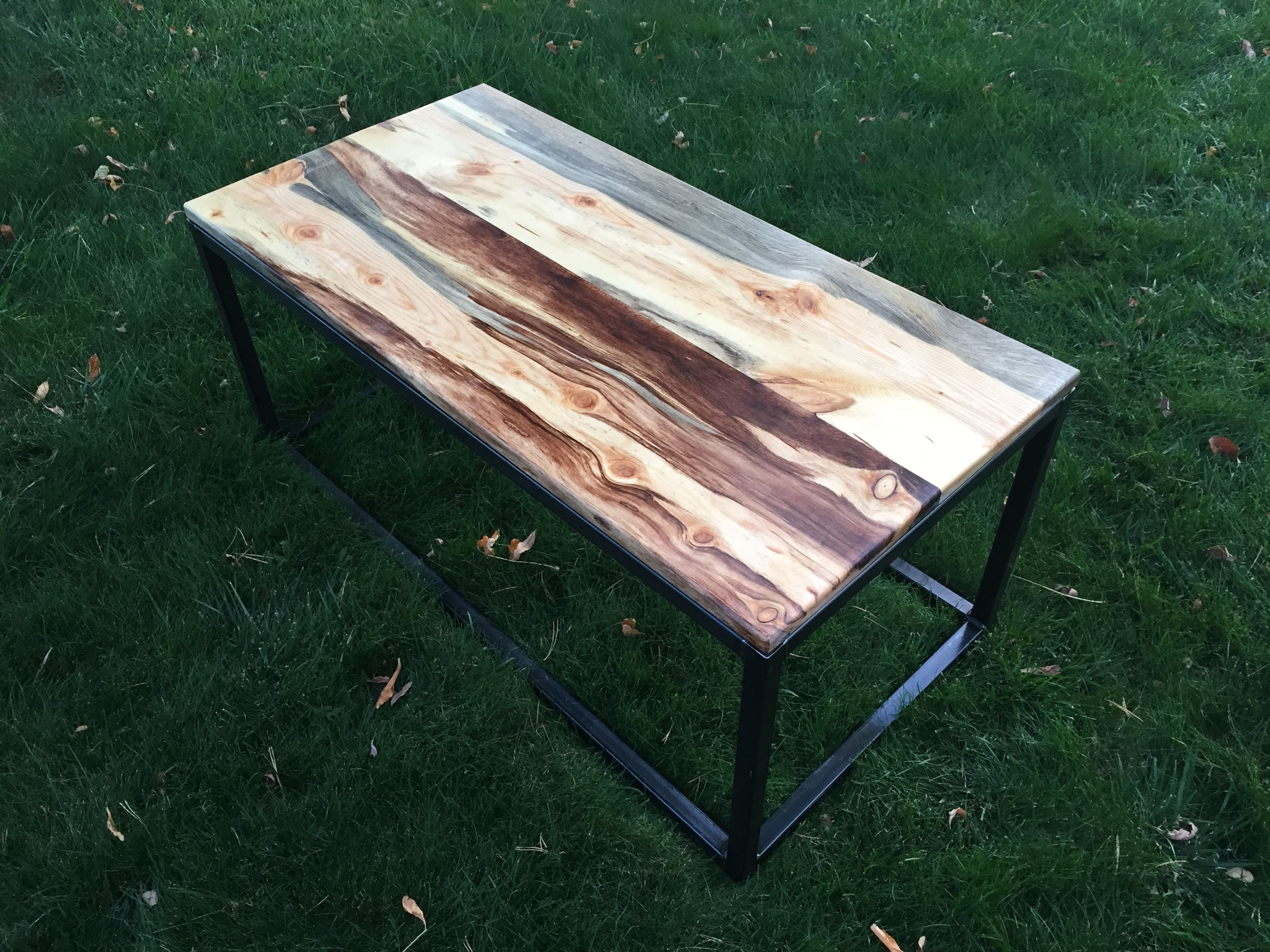 Beetle Kill Bluestain Pine Wood Coffee Table Handmade In Denver