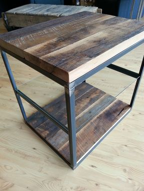 Custom Made Reclaimed Hardwoods In A Steel Frame W/ Glass Shelf End Table