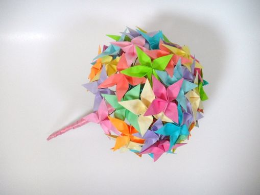 Custom Made Sale  Rainbow Confetti - Origami Paper Flower Bouquet
