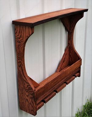 Custom Made Rustic Live Edge Red Oak 5 Bottle 4 Glass Wine Rack