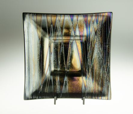 Custom Made Iridescent Glass Serving Plate 12 X 12