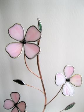 Custom Made Dogwood In Palest Pink Stained Glass-Industrial Flower Sculpture