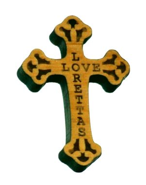 Custom Made Wooden Cross Necklace With Loretta's Love Engraved