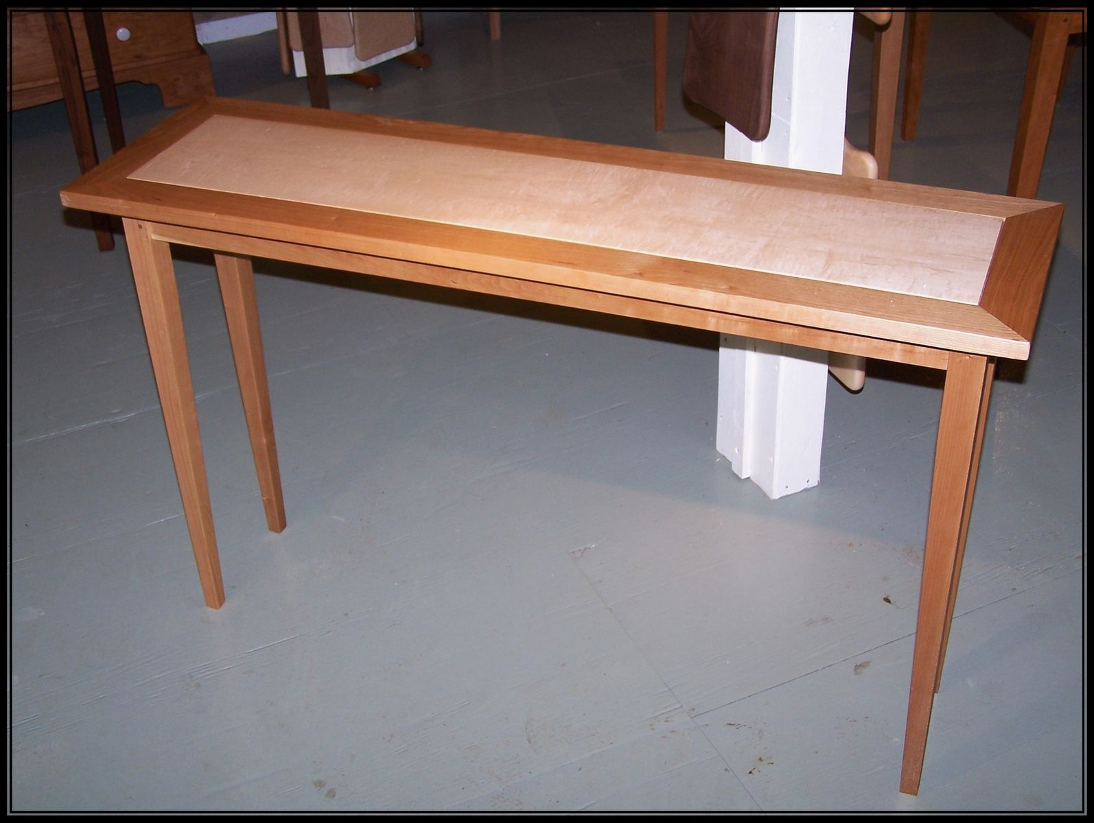 Custom Made Curly Blister Burl Maple And Cherry Hall Sofa Table