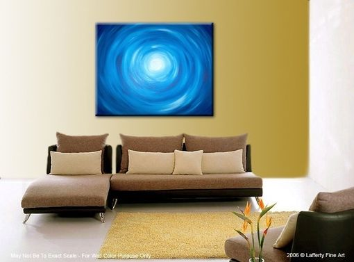Custom Made Acrylic Abstract Blue Painting, Blue White Raindrops, Original Art By Lafferty - 30x24 Sale 22% Off