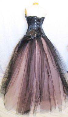 Custom Made Pink And Black Alternative Corset Wedding Gown