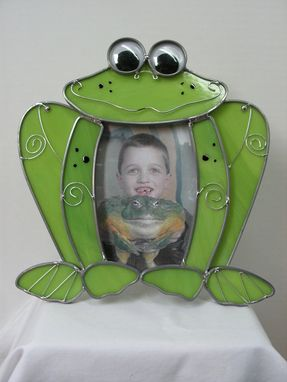 "Custom Made Green Frog Stained Glass Picture Frame ""Hopper The Frog''"