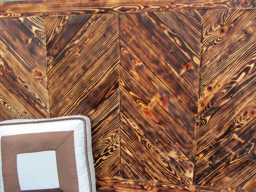 Custom Made Wood Chevron King/Queen/Full Headboard Made From Reclaimed Pallet Wood - Chevron Wall Art