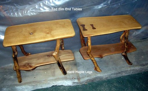 Custom Made White Oak/Red Elm Coffee Table With Matching End Tables