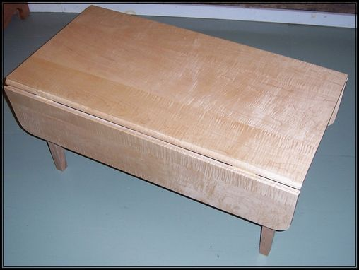 Custom Made Tiger Maple Drop Leaf Coffee Table