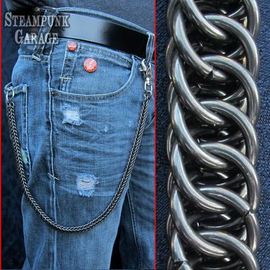 Custom Made Wallet Chain - Black Steel - Heavy Duty Industrial Strength 14 Swg