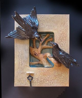 Custom Made Ceramic Wall Hanging Shadow Box Of 2 Ravens And Tree
