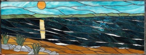 Custom Made Stained Glass - Scenic Beach Design (P-16)